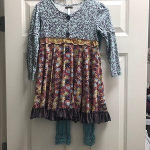 Matilda Jane You & Me dress & leggings sz 10